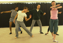 Pepe Serrano, Sean Stewart, Christopher Caines, and Keelin Ryan in rehearsal for ARIAS.