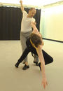 Choreographer Christopher Caines and dancer Leigh Schanfein in rehearsal for ARIAS.