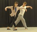 Katie Moorhead and Sean Stewart in rehearsal for ARIAS.